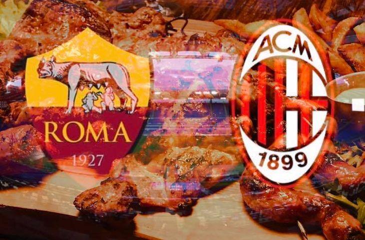 Per gli amanti del buon cibo e dello sport, questa sera sui nostri schermi trasmettiamo il posticipo di serie A  ⚽️Roma - Milan.  Vi aspettiamo a cena🍴