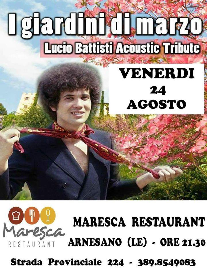 Venerdì 24 agosto Lucio Battisti Tribute va in scena a Maresca Risto & Pizza. #miritorniinmente #acquaazzurraacquachiara #fiorirosafioridipesco #marenero #nastrorosa
