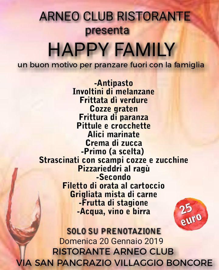 'Una tavola imbandita, il calore di una casa accogliente e la famiglia riunita. Ecco cosa rappresenta per gli italiani il pranzo della domenica' e a noi non manca davvero niente.                      <- - HAPPY FAMILY - - >  Vi aspettiamo, per info e/o prenotazioni 330857722