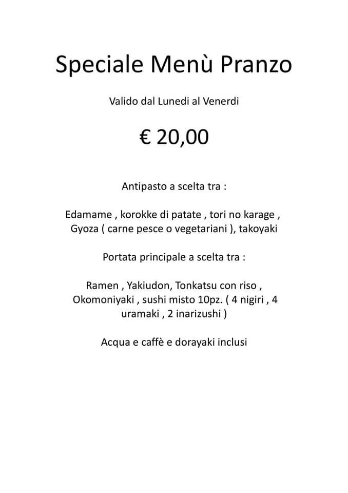 Buongiorno dal Sui Generis 🇯🇵 Vi ricordiamo il menù speciale pranzo 😊 Vi aspettiamo! 🥟🥙 🍜🥢🍣 ☕️