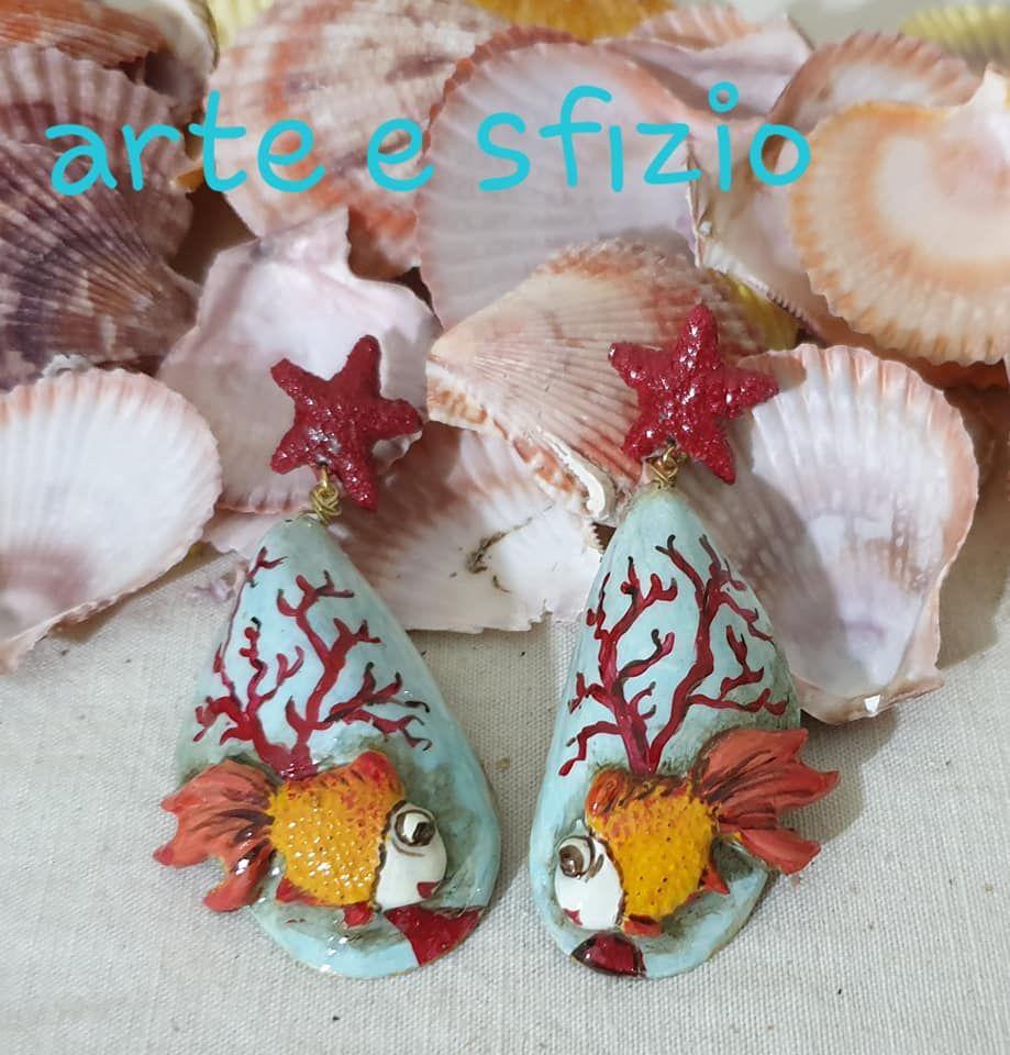 orecchini cozze e conchiglie dipinti a mano